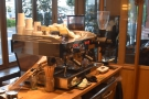 Standing here gives you a good view of the espresso machine in action by the way.