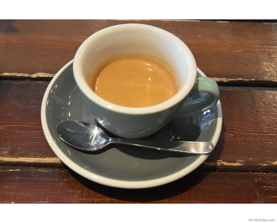On both my visits, I had espresso. This is the first, an Ethiopian single-origin...