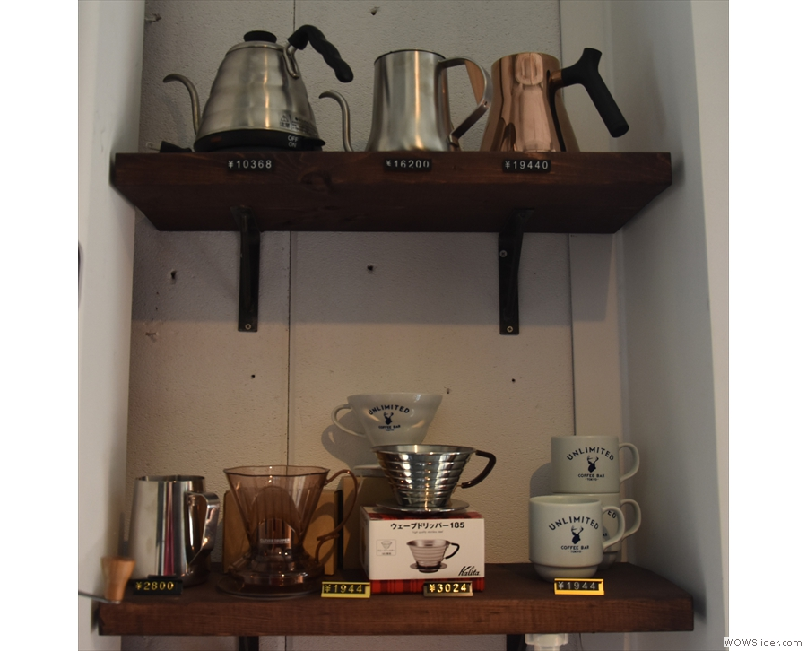 There's quite a lot coffee making equipment for sale, such as these kettles and drippers...