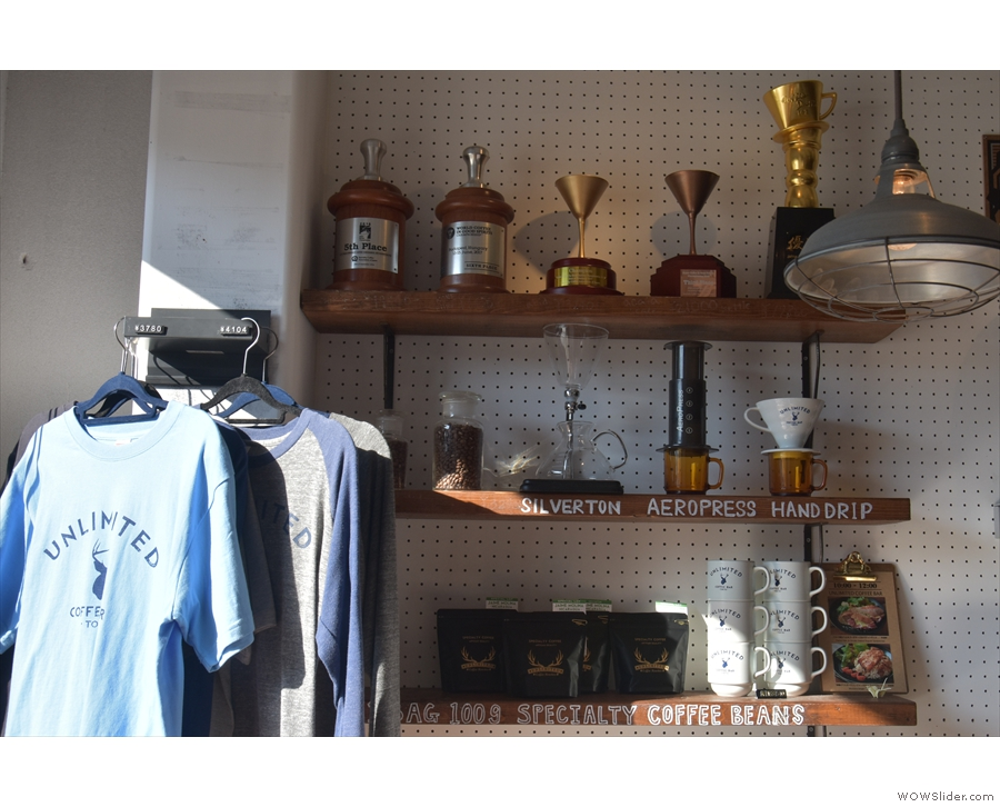There's more merchandising (and some trophies) on the wall at the end of the counter...