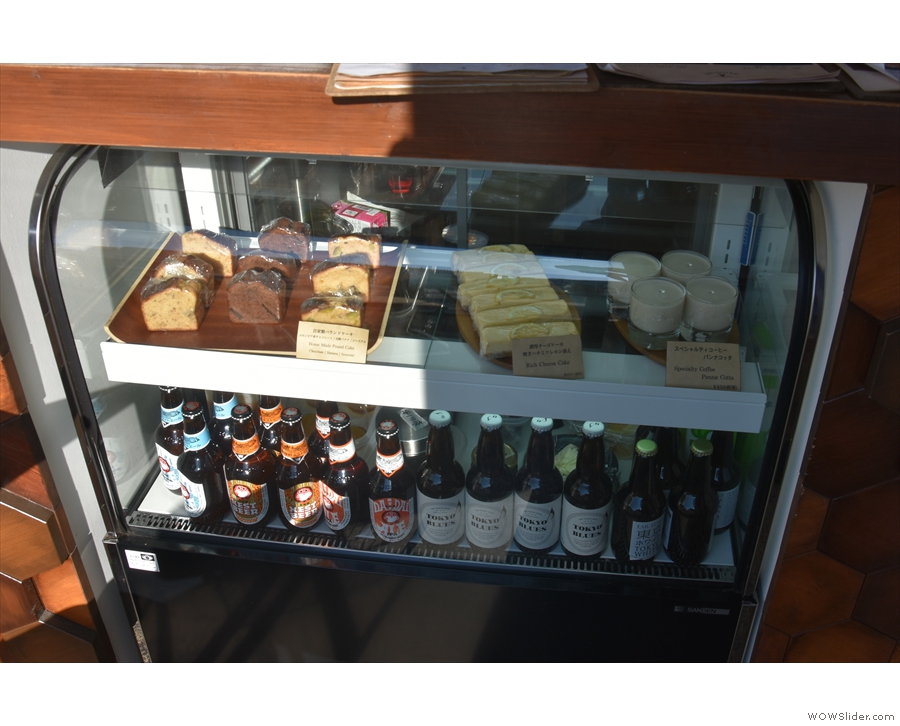 ... where you'll find the cakes and some bottled beer on display under the counter.