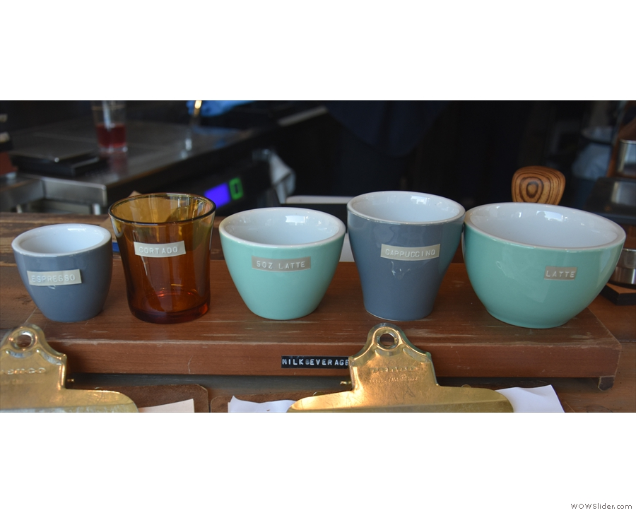 ... a handy line of cups showing you the various drink sizes.