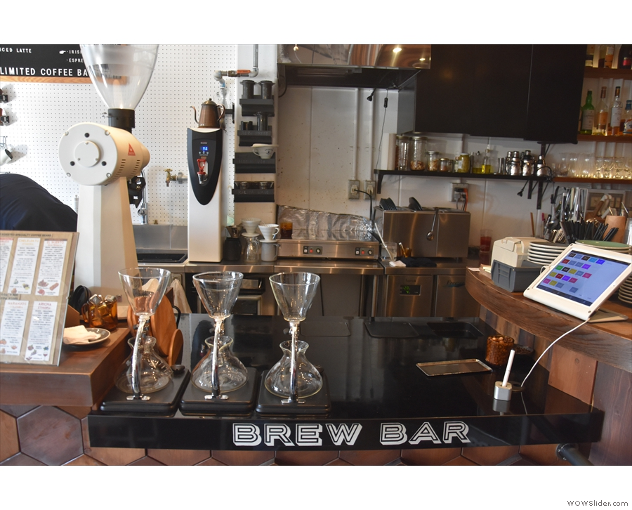 The brew bar, in more detail.