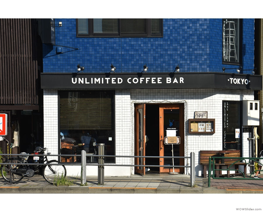 Back on the ground, and this is what we've actually come for: the Unlimited Coffee Bar.