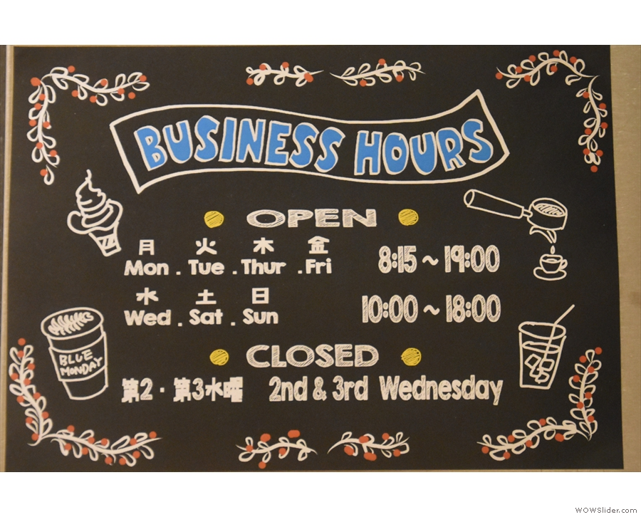 For example, here are the opening hours...
