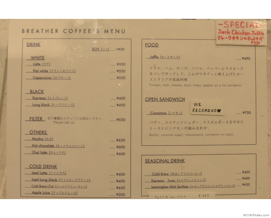 The menu with its concise coffee offering, as well as other drinks and food.