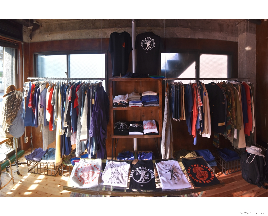 Finally, the left-hand side is given over to merchandising & two racks of vintage clothing.