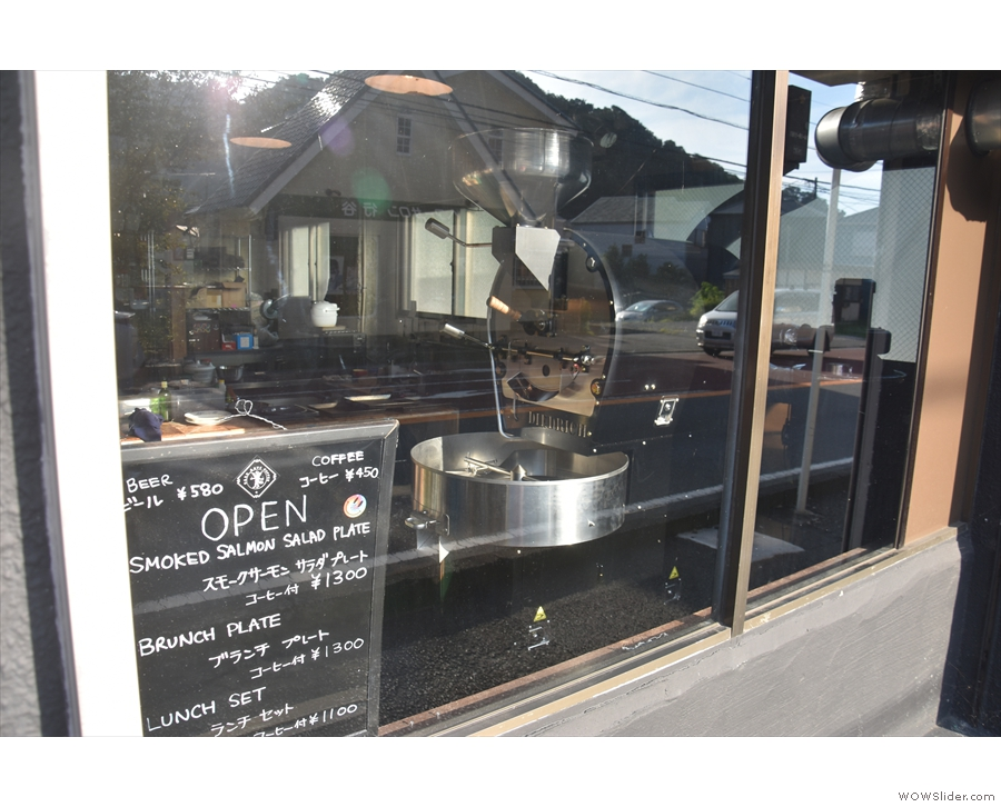 ... with its coffee roaster clearly visible through the window!