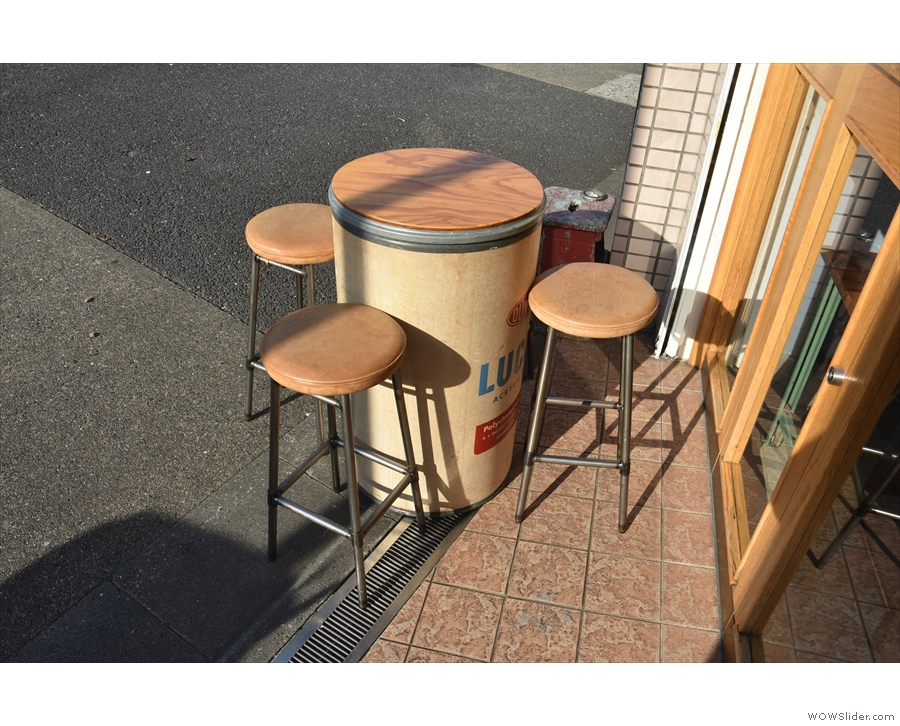 Outside seating is provided by this repurposed barrel...