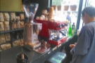 Come September, the bright red La Marzocco Linea Mini had been moved to the side...