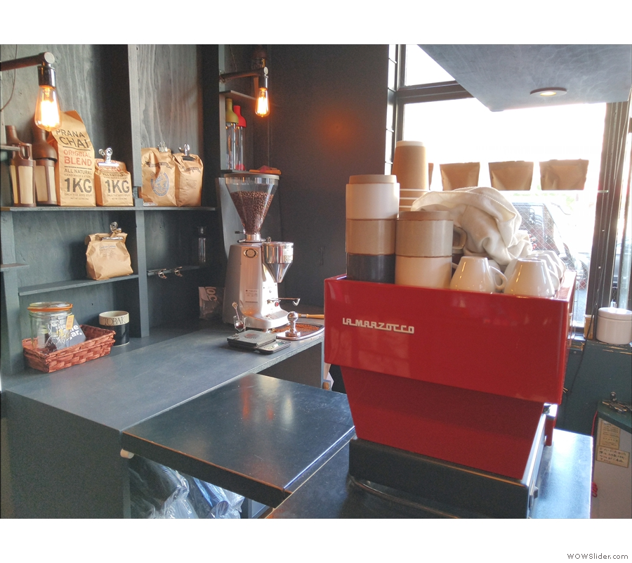 ... which is where you'll find the bright red La Marzocco Linea Mini espresso machine.