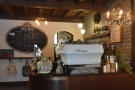 This is a more typical view of the counter and espresso machine.