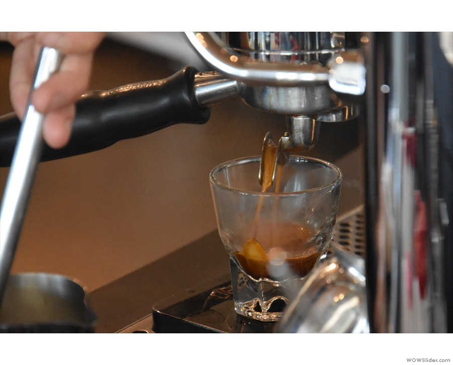 This is actually my coffee extracting on the second group head.