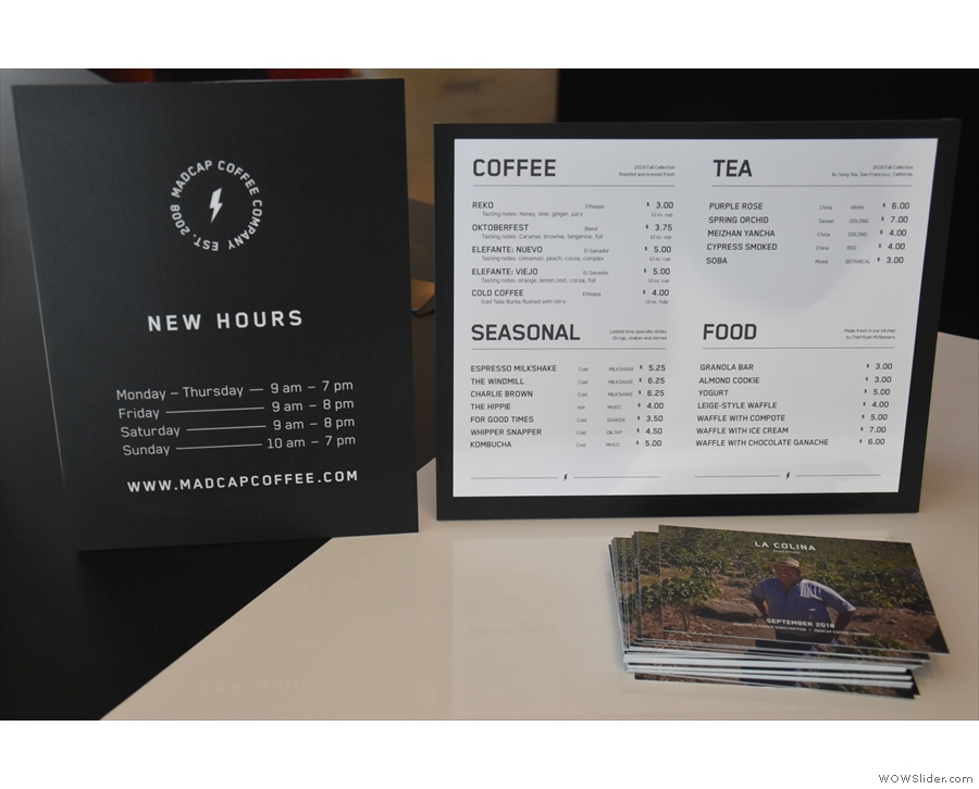 There's a more detailed menu on the counter...