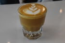 And here's the finished article, a decaf cortado, served in a glass...