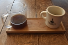 ... and the same single-origin through the Aeropress, served in a carafe on a tray...