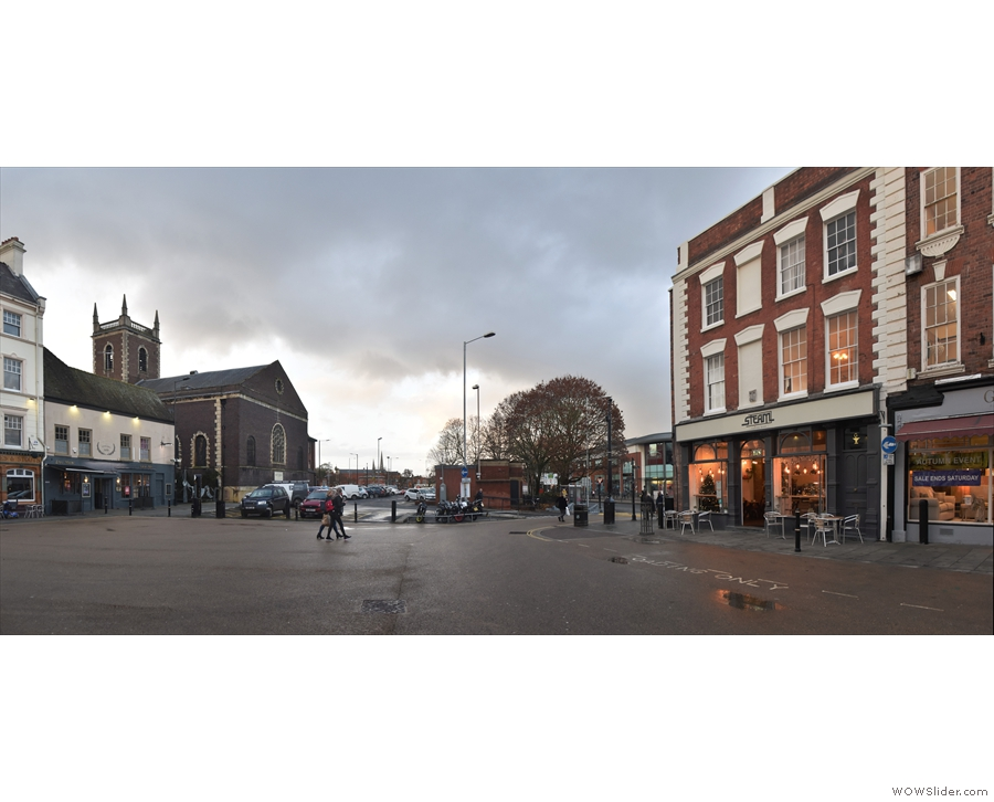 The view across the wide expanse of the Cornmarket, Steam Coffee on the right.