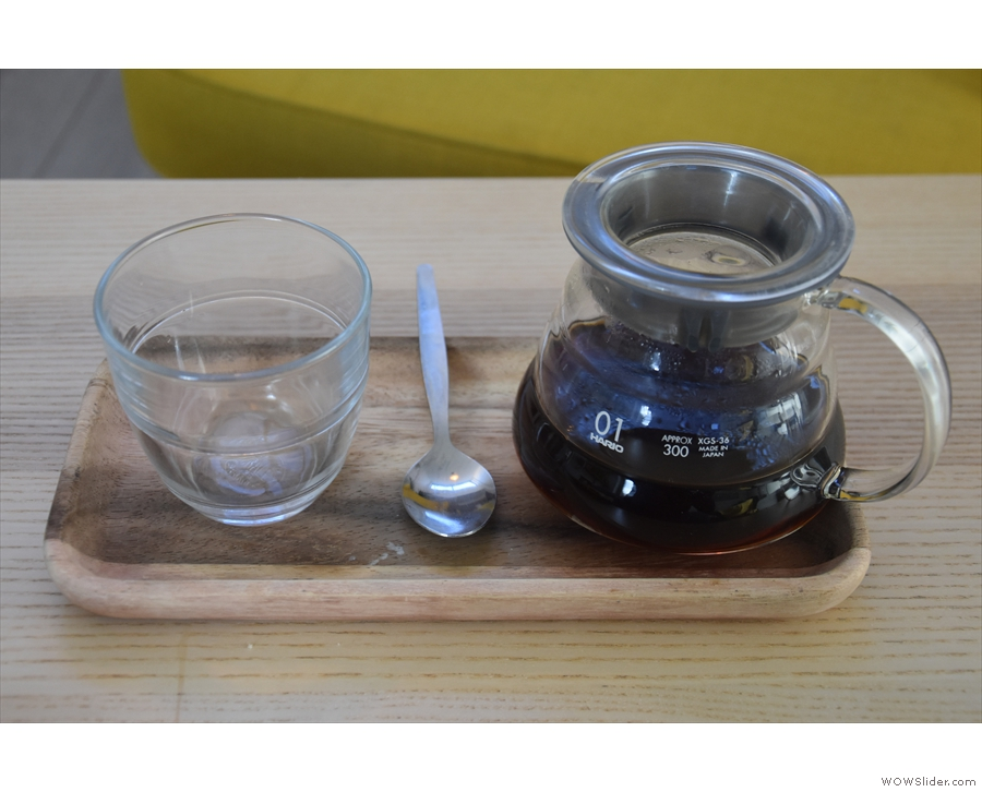 ... which I paired with a V60 of the guest, a single-origin Kenyan from The Brew Project...