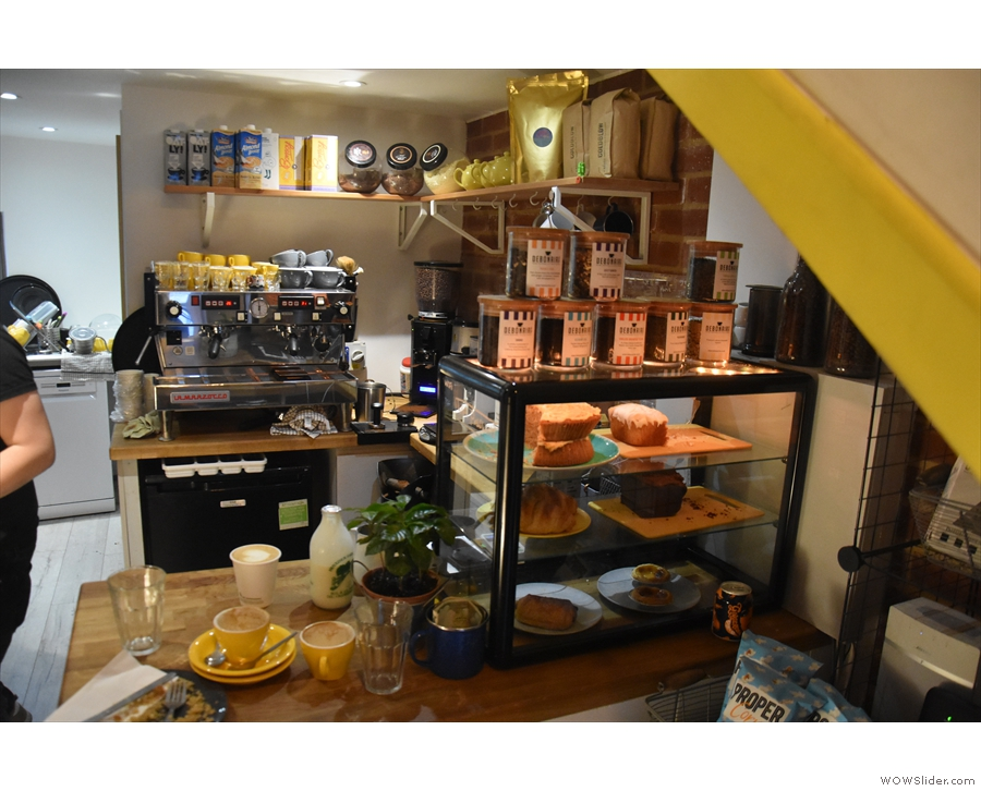 It's a compact affair, with the cakes displayed on the front of the counter...