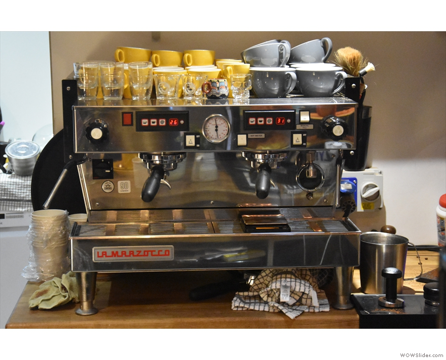 ... but I was more interested in the coffee, with the two-group La Marzocco at the back...