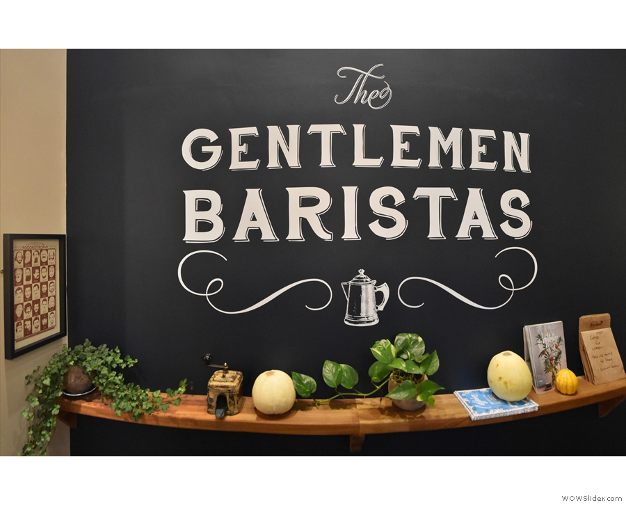 This is the neat Gentlemen Baristas logo that we could see through the window.