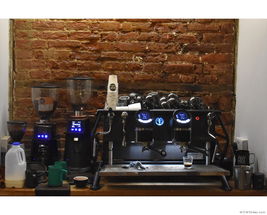The heart of the operation is the two-group Sanremo Cafe Racer espresso machine...