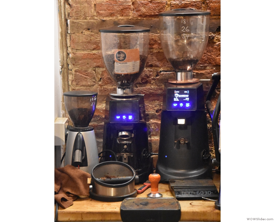 ... with its two grinders, one for the house blend and one for the single-origin option...