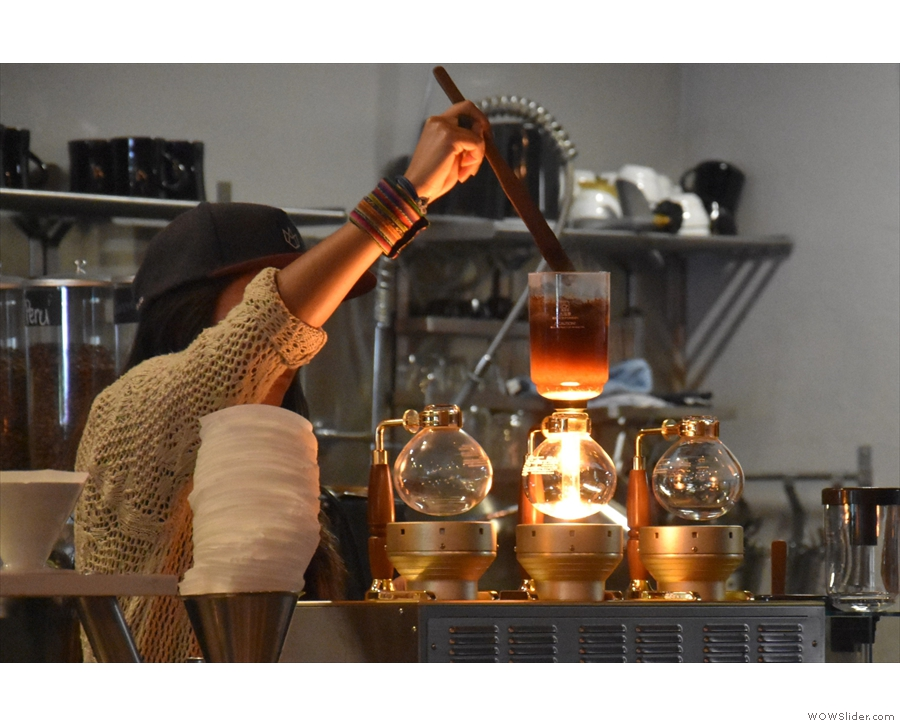 February: preparing a syphon at Flywheel Coffee Roasters in San Francisco.
