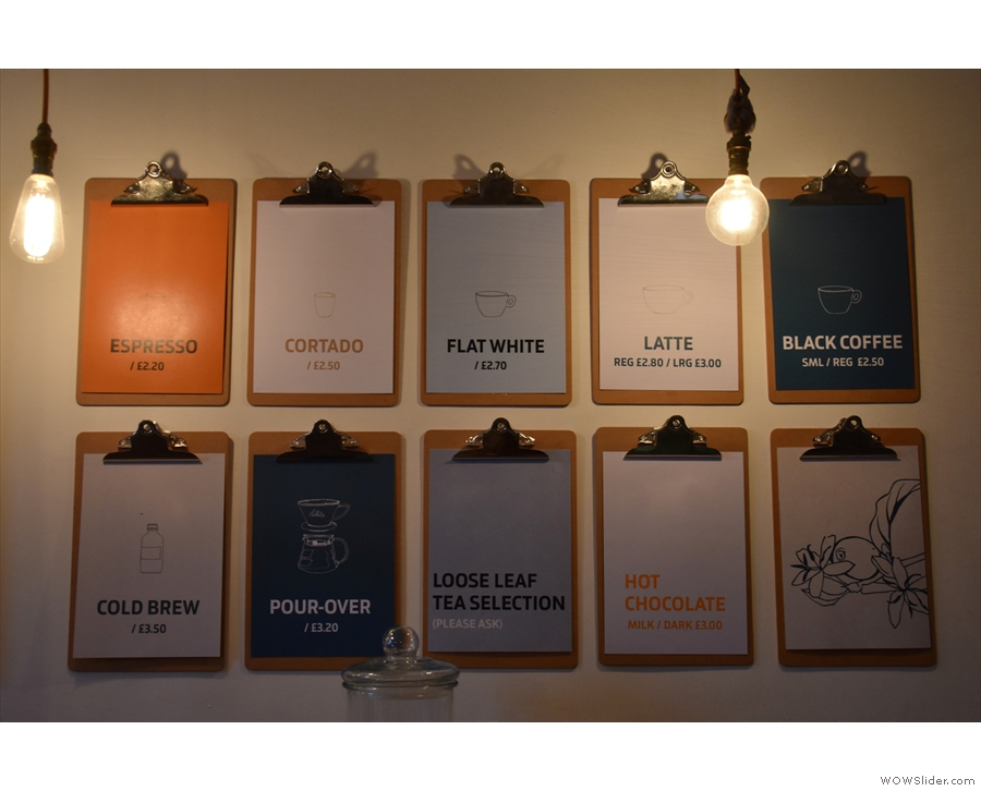 May: perusing the coffee menu at Fortitude, Edinburgh.