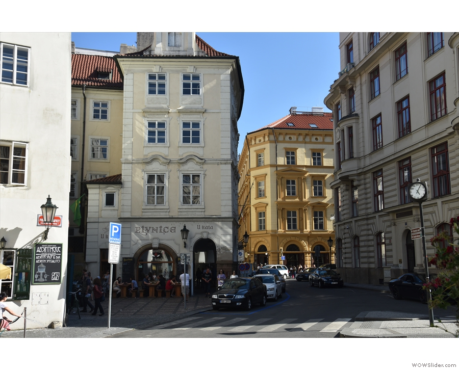 Approaching Ulice Radnice in the heart of Prague's Old Town.