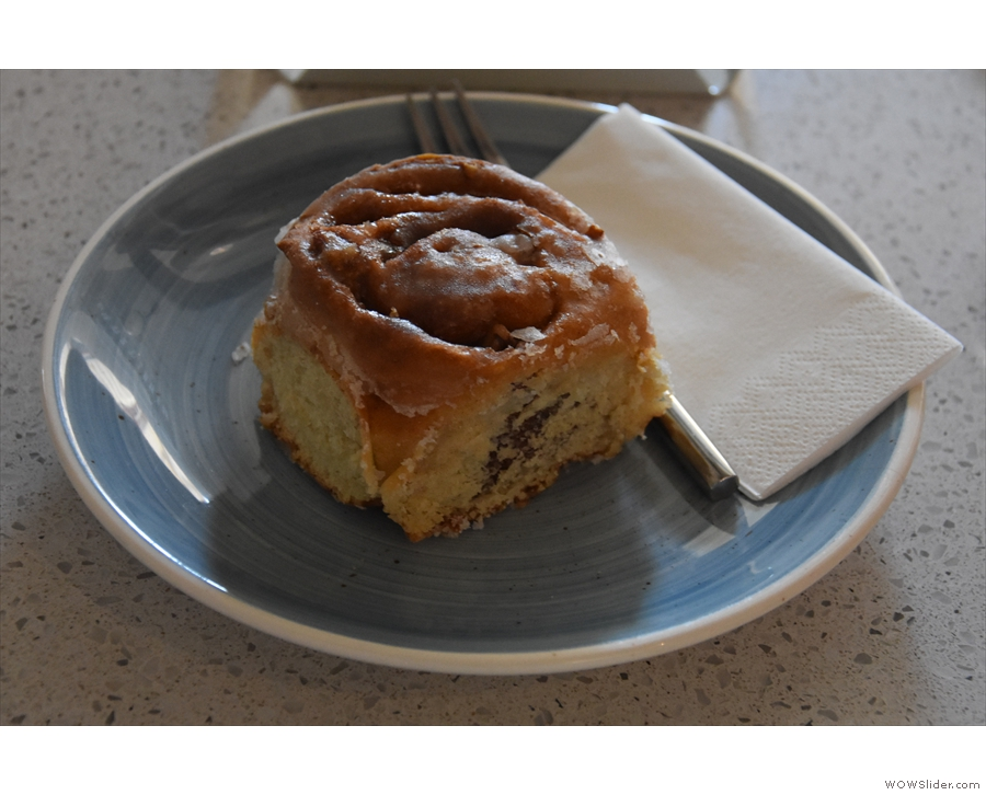 For cake, we shared an excellent warm, vegan cinnamon and pecan roll...