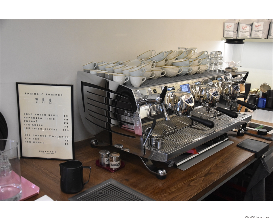 The heart of the coffee operation is the three-group Black Eagle espresso machine.