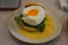 On our first visit, we came for breakfast. I had Eggs Benedict, made with cloud eggs...