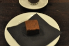My espresso with mini-chocolate brownie.