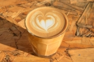 ... of the house blend (Get To The Hopper) in a flat white, once again served in a glass.