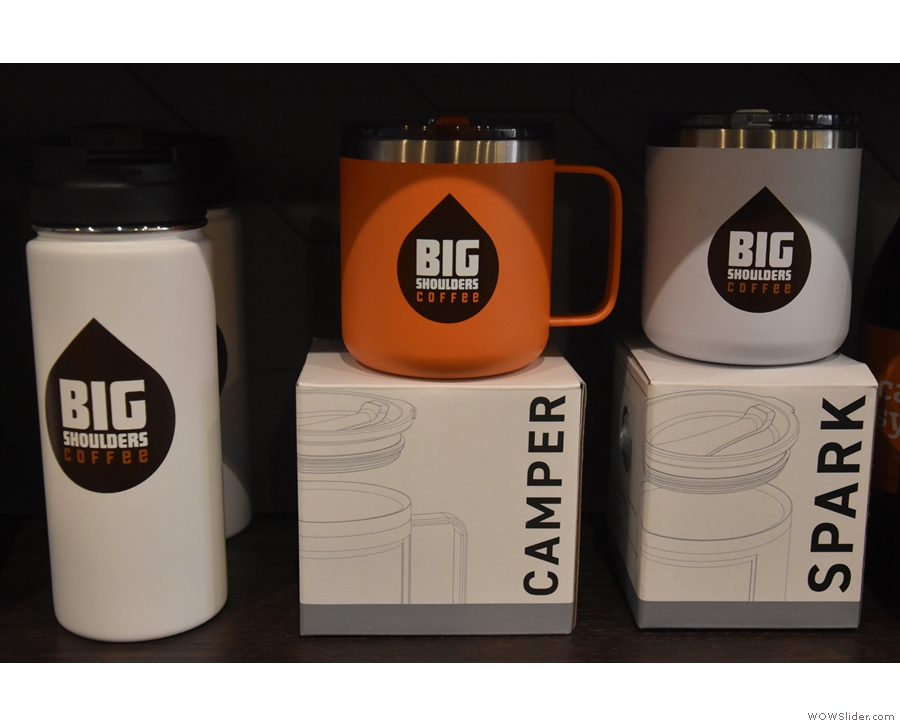 There are also branded reusable mugs for sale.