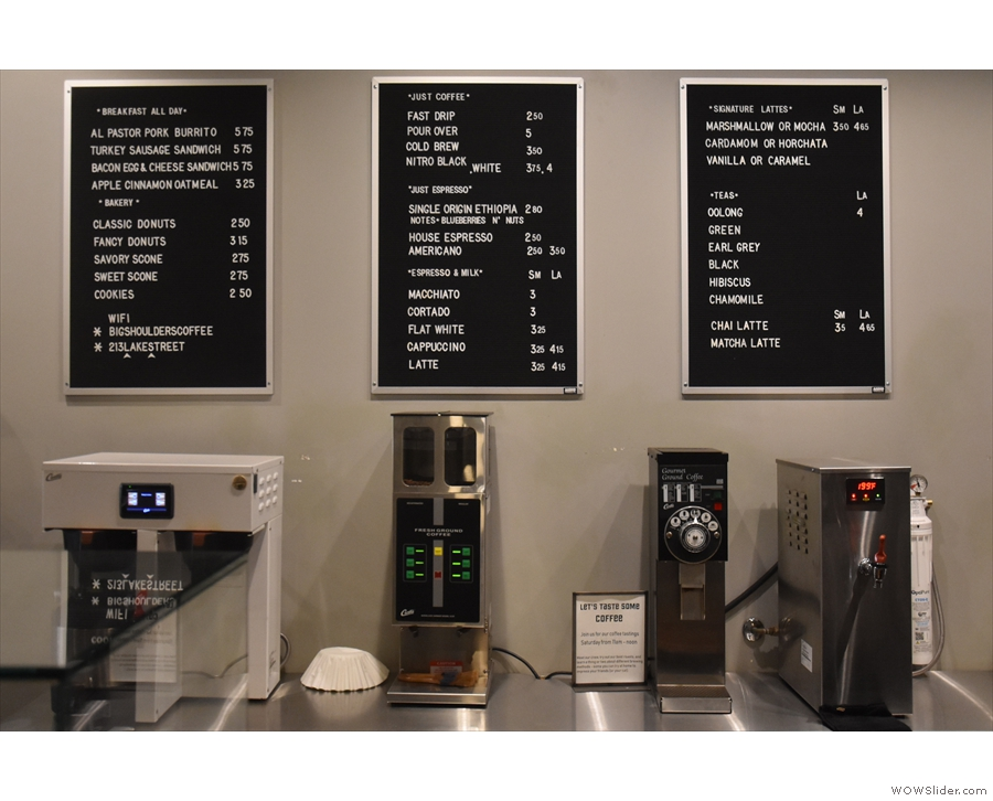 ... while the menus are on the wall above the batch brewer and hot water boiler.