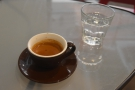 Later that week, I had a shot of the Lake Street espresso, served with a glass of water.