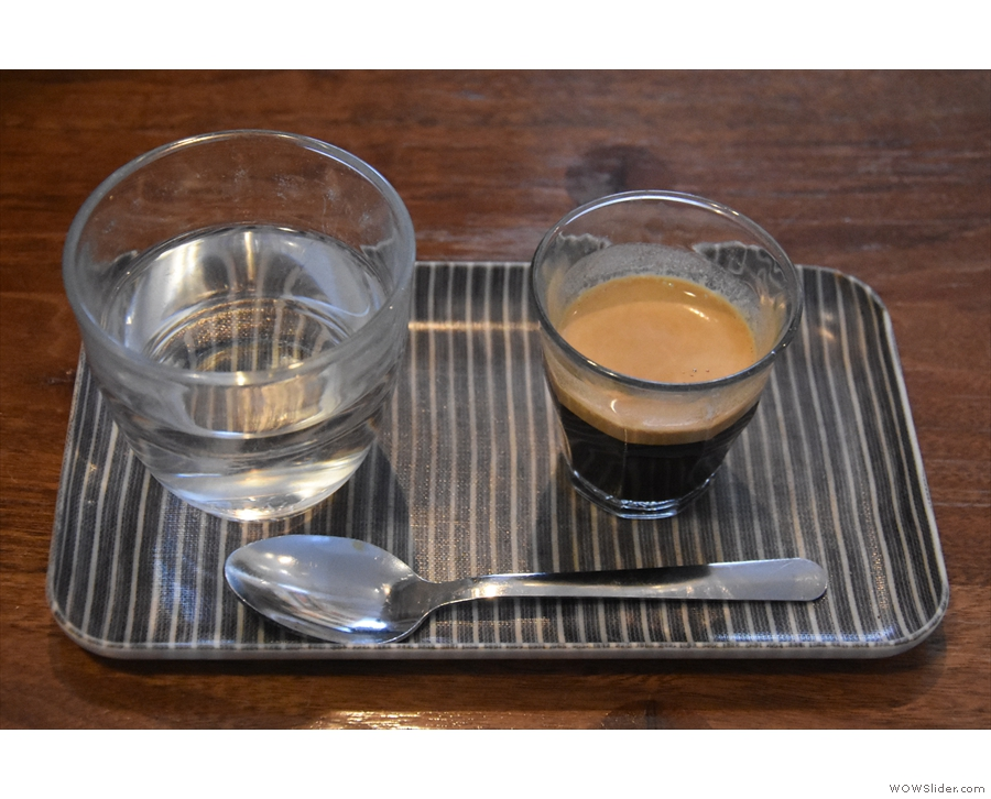 ... which I paired with a shot of the guest espresso, served on a tray...