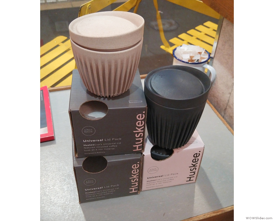 Moving with the times, Society now sells these Huksee reusable cups.
