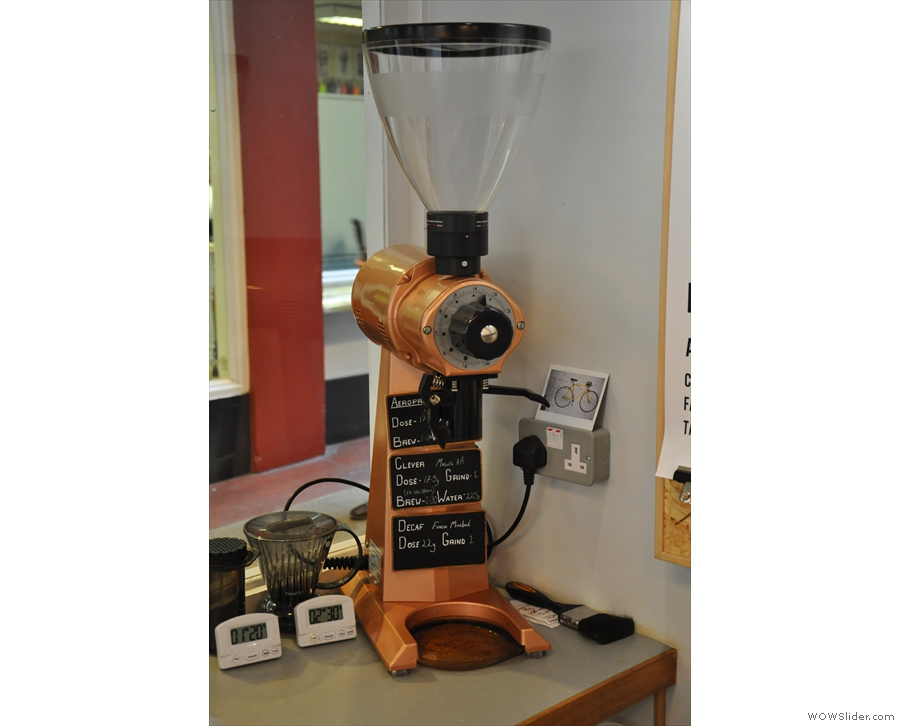 For filter coffee and decaf, the EK43, seen here in 2014, is pressed into use.