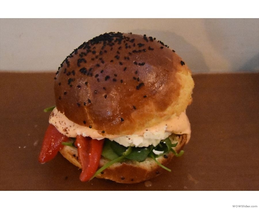 I was there for lunch, and, spoilt for choice, I settled on the veg brioche bun.