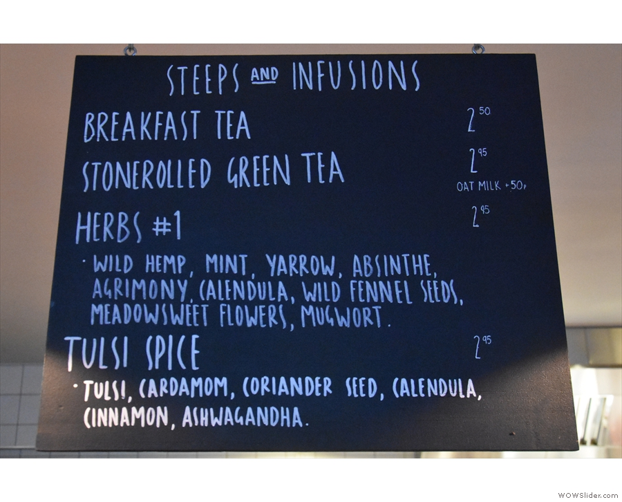 ... and the steeps and infusions menu