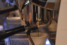 If you stand at the far end of the counter, you can watch the espresso extracting...