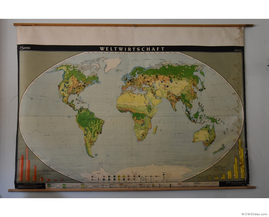 Other neat features include this German map of the world that hangs on the wall...