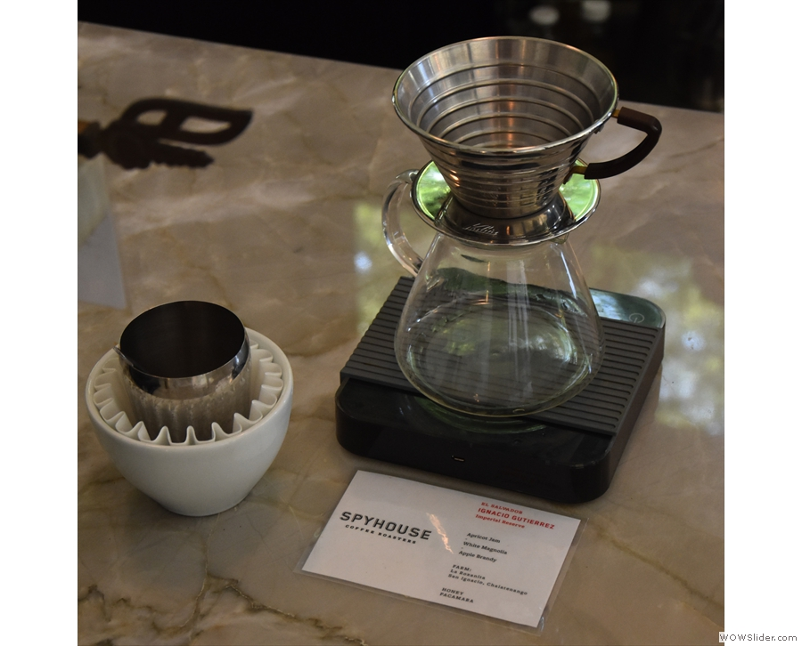 This is also where you'll find the pour-over, complete with details of the coffee.