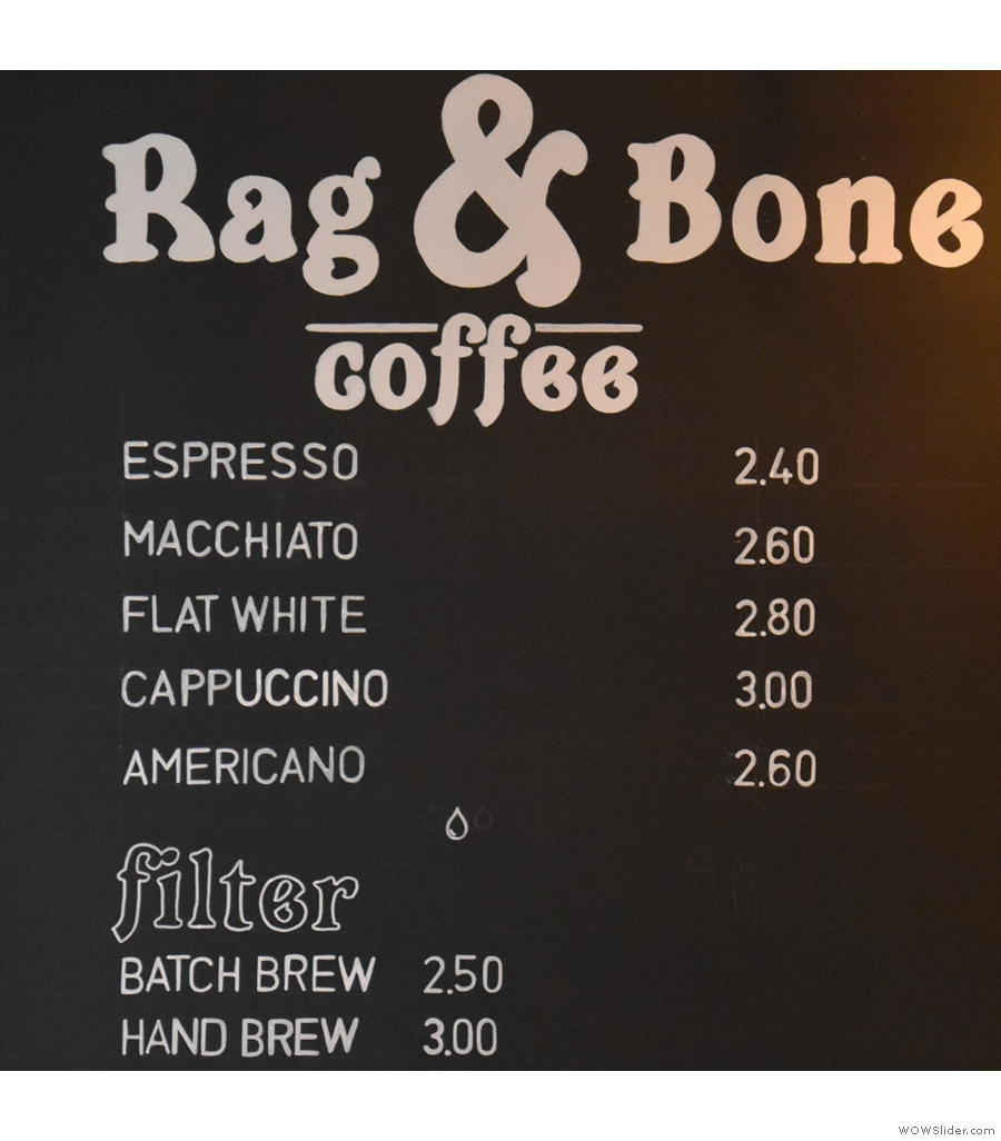 Rag & Bone Coffee at Sharps, a (still) rare example of speciality coffee in a barber shop.