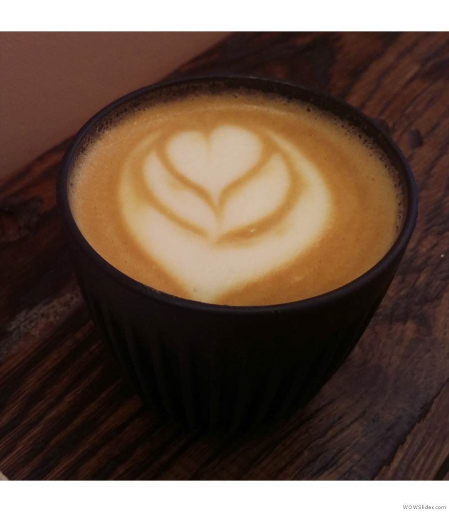 Another flat white in my HuskeeCup from Taylor Street Baristas, Canary Wharf.