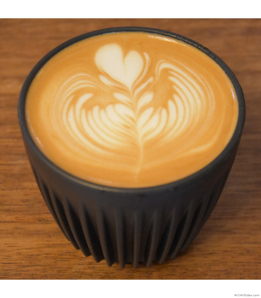 A third flat white to go in my HuskeeCup, this time from Workshop Coffee at The Pilgrm.