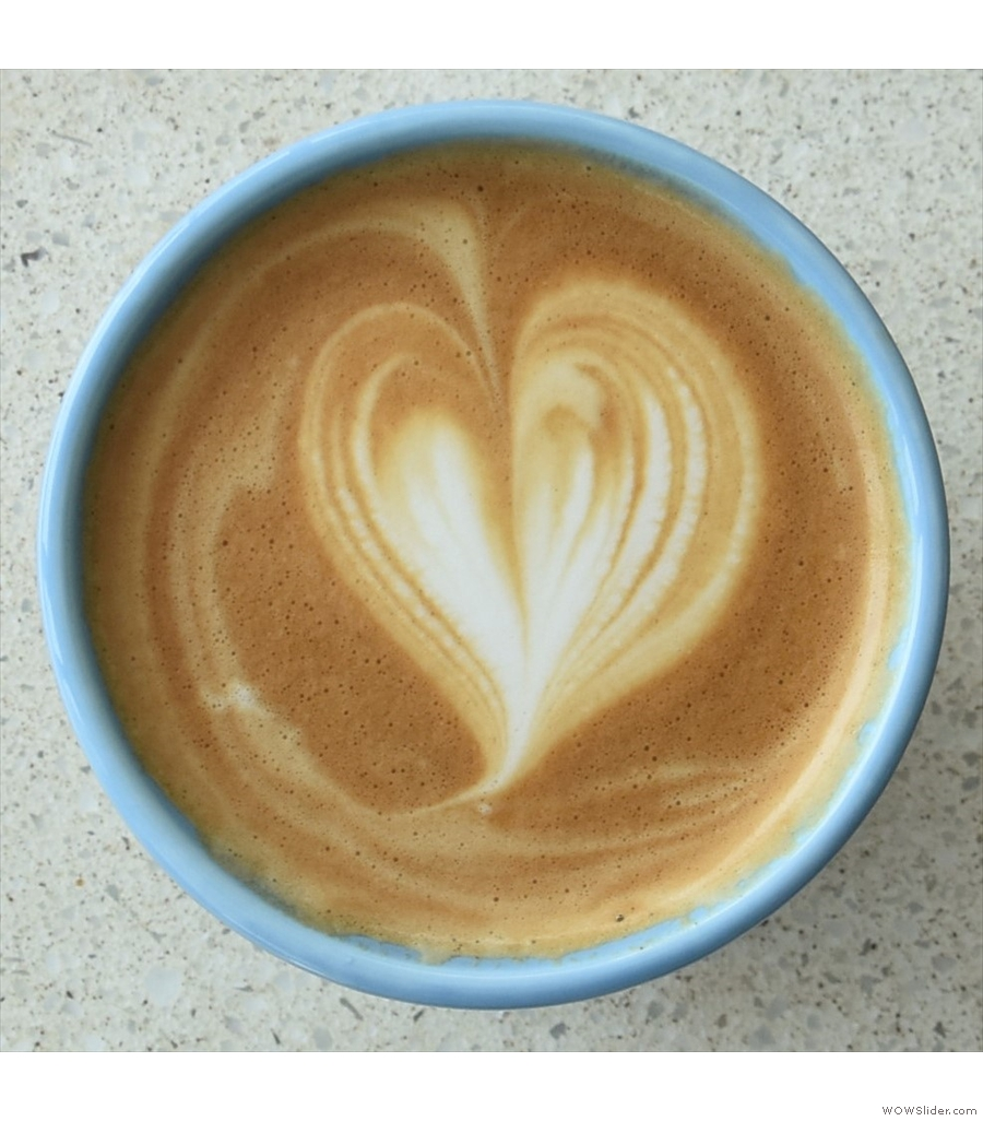 A latte to go in my Therma Cup from % Arabica, Arashiyama, an amazing location in Kyoto.